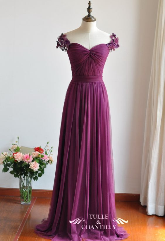 Eggplant Sweetheart Tulle Bridesmaid Dress With Floral Straps TBQP327 16