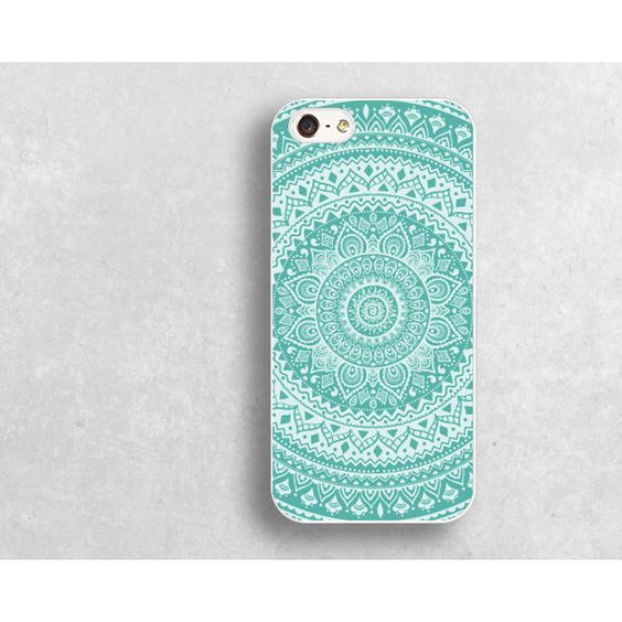 blue mandala IPhone 4 case,blue floral IPhone 4s case,floral IPhone 5s case,mandala IPhone 5c case,IPhone 5 case,datura case,19j1 ($8.99) found on Polyvore featuring women's fashion, accessories, tech accessories and datura