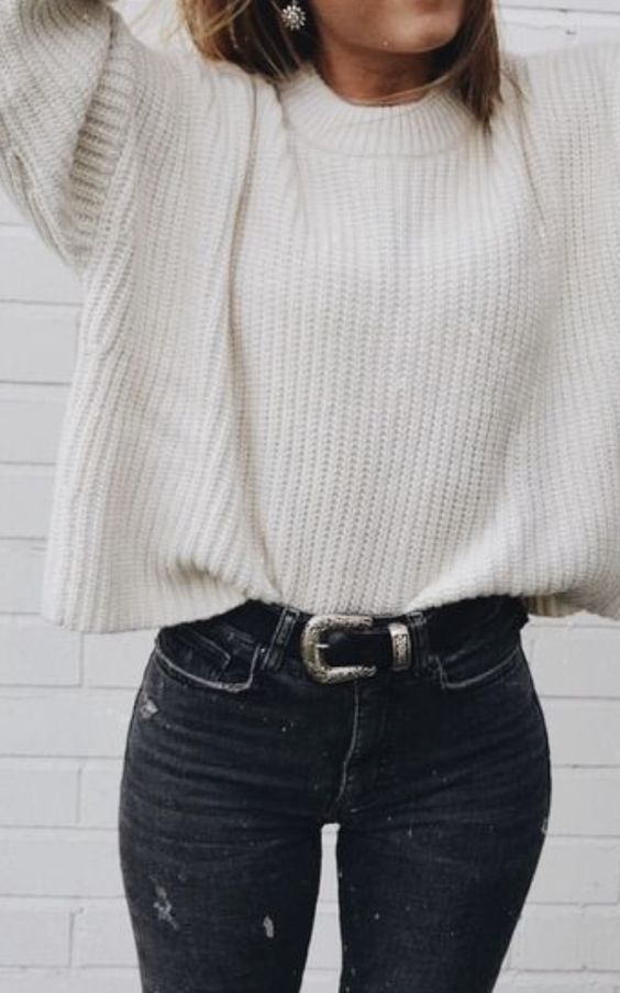 cableknit sweaters + western buckle belt + high waisted skinny jeans | best casual everyday outfits for school | best winter outfits for fashion bloggers | cute and casual everyday spring outfits for teens | #ootd #outfits #outfitideas #bucklebelt #skinnyjeans #winterfashion #fashion #sweater