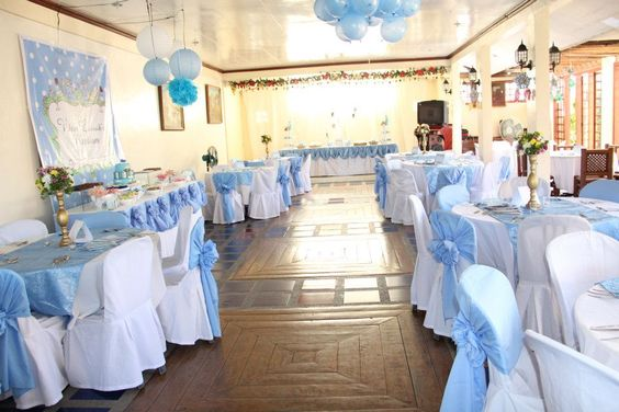 Baptismal party venue decor baby shower baptismal party for Baby shower hall decoration