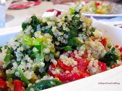 MEATLESS MONDAY!! Sweet Quinoa w/ greens, tomato, feta via @Meredith #FitFluential