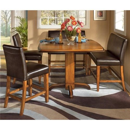 urbandale 5-piece two-tone counter height table & upholstered