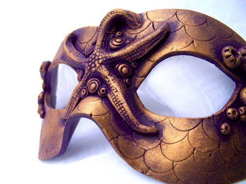 Polymer Clay Mermaid Mask: Light, Wearable, Vegan - POTTERY, CERAMICS, POLYMER CLAY