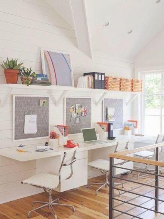 Farmhouse Triple Desk Area Kid Desk Area In Playroom Design Or Study Area In Bo Area Homework Room Kids Desk Area Rustic Home Offices