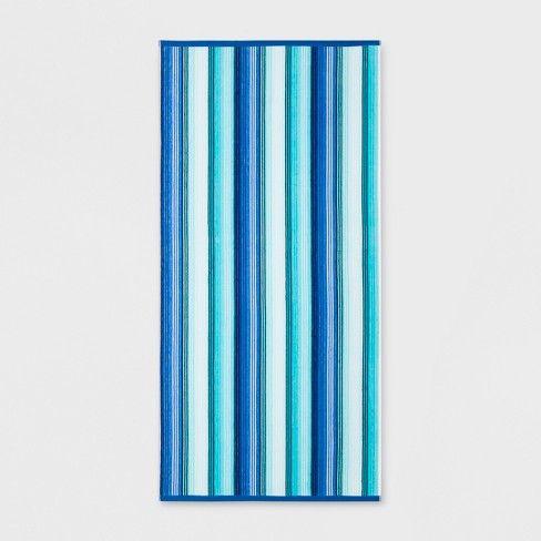 Xl Textured Stripes Beach Towel Blue Sun Squad Target Blue
