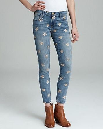 Current/Elliott Jeans - The Stiletto in Super Loved with Rose Gold Stars   Bloomingdale's