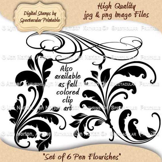 Instant Download Digital Flourishes Calligraphy Swirls