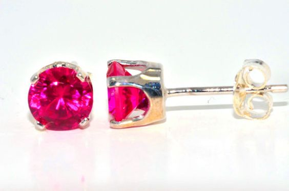 5mm Ruby Stud Earrings in Sterling Silver by ElizabethJewelryInc, $21.99