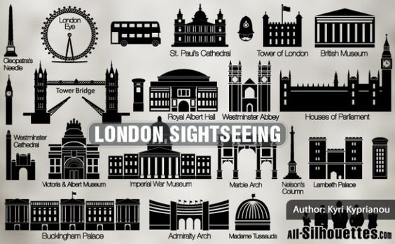 vector london sightseeing all silhouettes Vector | Free Download