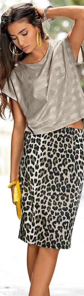 Gray wide top, leopard midi skirt