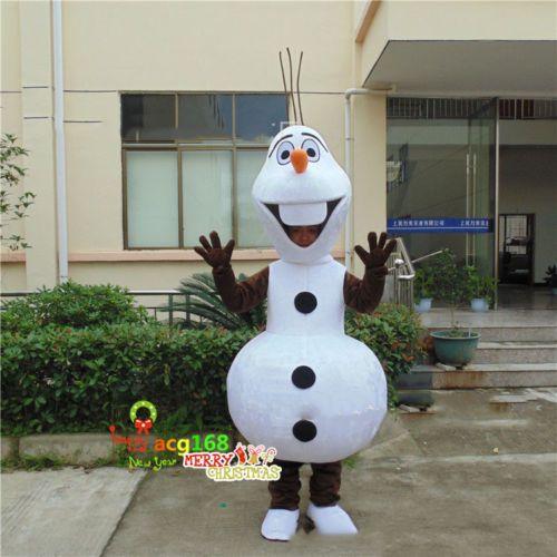 White Olaf Snowman Mascot Cartoon Costume Adult