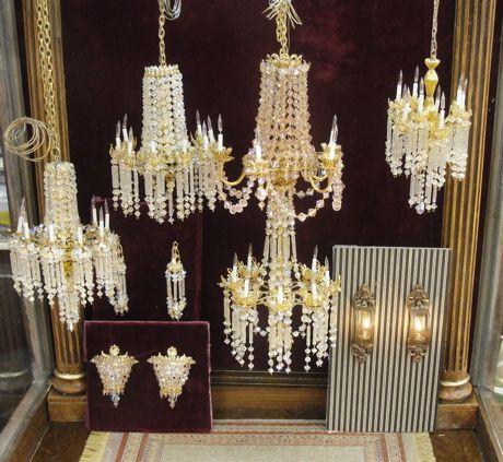 Miniature Swarovski Crystal chandeliers. Wow!