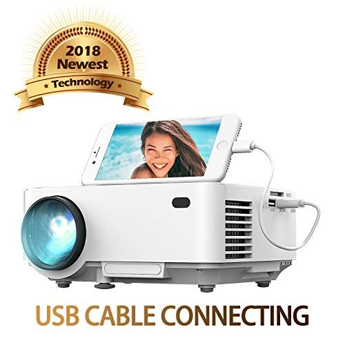 Usb Video Projector By Dbpower Usb Directly Connect With Ios Android Device 50 Brighter Home Theater Projector 1080p Hdmi Vga Usb Tv Box Laptop Dvd Externa With Images Mini Projectors Video Projector Projector