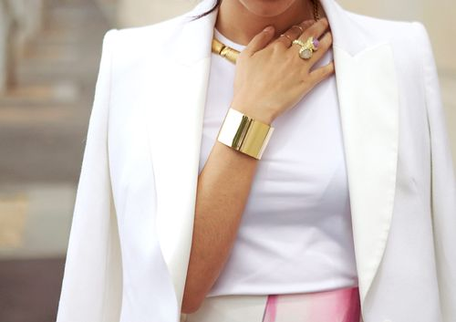 White blazer, gold jewels