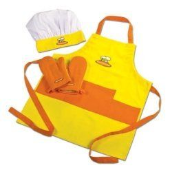 Child Chef Apron Set - Yellow & Orange by Tailor Made Products. $17.99. This high quality 4 piece set includes 100% cotton apron, chef hat and 2 mitts. Apron features pockets and adjustable strap for sizing. One size fits most children.