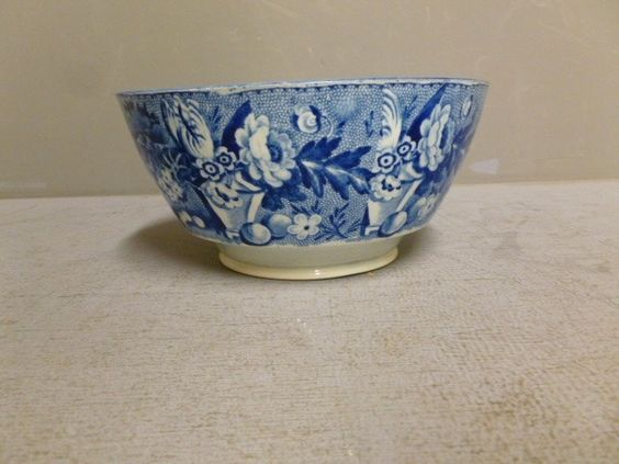 staffordshire bowl antique large blue | Antique Staffordshire Dark Blue Transfer Large Waste Bowl ... | SORT 4