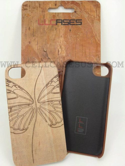 Real wood hard case with etched design and soft interior lining GET IT AT:  http://www.cellcasesusa.com/products/APP-IP4S-WOODBUTT/WOOD-SKIN-BUTTERFLY-BACK-COVER-CASE-FOR-IPHONE-4-4S-ATT-VERIZON-SPRINT.html