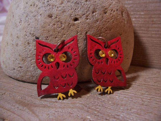 Red Ombre Owl earrings//hand painted, drilled//Swarovski crystals//copper loops on Etsy, $9.95