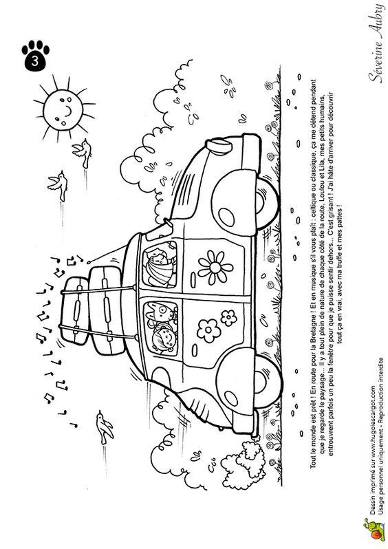 Dessin à colorier du départ en voiture de Pops le chien - Hugolescargot.com