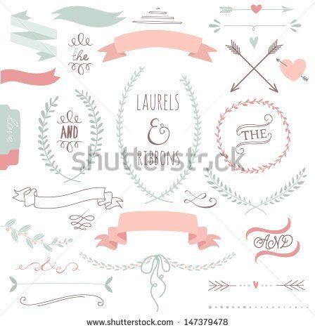 """""""Conjunto gráfico de casamento, flechas, corações, loureiros, grinaldas, fitas e etiquetas."""""""