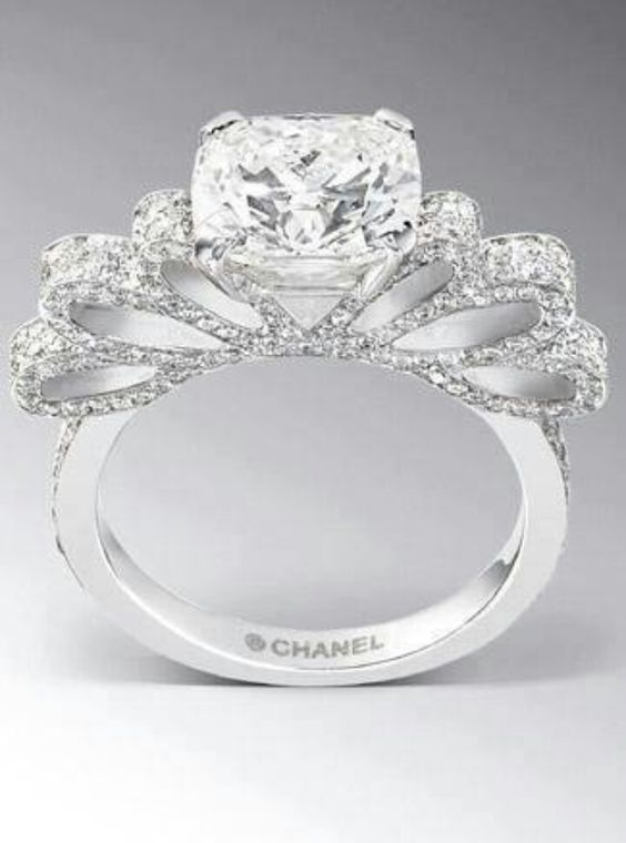 Diamond bows bow rings and chanel on pinterest for Chanel mens wedding rings