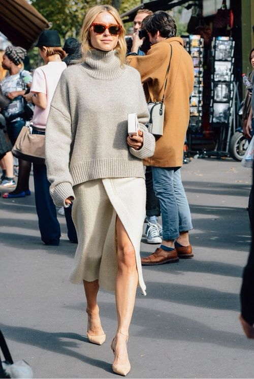 street chic style loversized cream turtleneck sweater + ivory knit pencil skirt with front slit + nude ankle strap stilettos