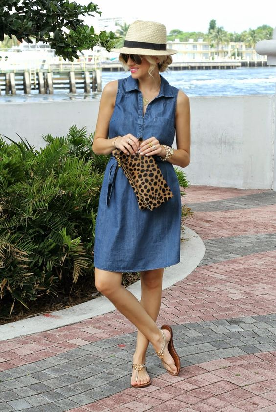 Chambray Shirt Dress...: