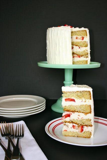 Strawberries & White Chocolate Poppy Seed Cake: