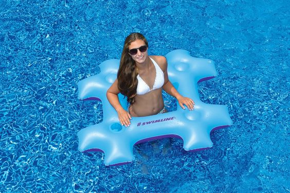 """48"""" Blue and Purple Hash Tag Novelty Inflatable Swimming Pool Floating Raft - Pool Central"""
