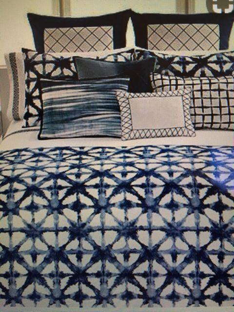 Vera Wang Blue White Tie Dye Ikat Duvet 100 Cotton Queen Full