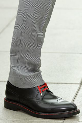 Aaw, love it!... Black brogue w/ red laces & welt via GQ - Dior Homme Spring 2013