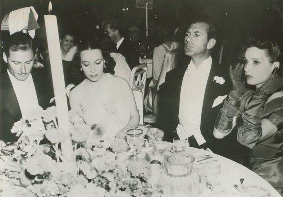 âErrol Flynn, Dolores del Río, Gary Cooper and Lili Damita, 1937. â