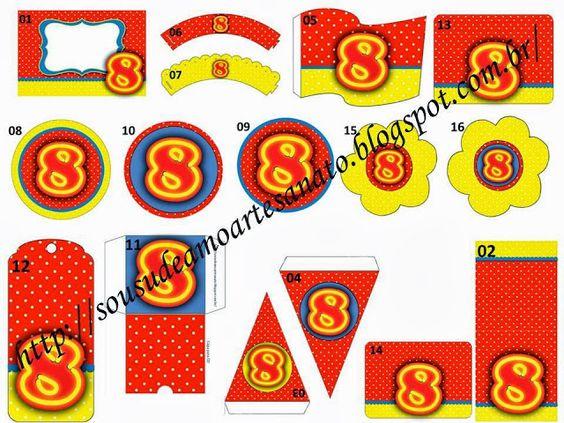 Armario Lavanderia ~ Sou SUD e Amo Artesanato! Kit para Batismo com Tema 8 Anos Poá Vermelho, Amarelo e Azul