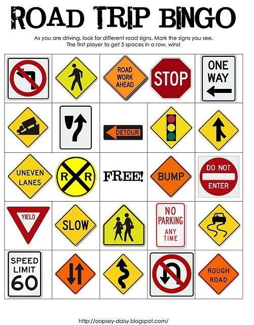 road trip bingo--This looks fun for kids along the road.....we used to count cows...srsly