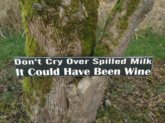 """Don't Cry Over Spilled Milk, It Could Have Been Wine  5.5"""" x 36"""" Sign. $25.00, via Etsy."""