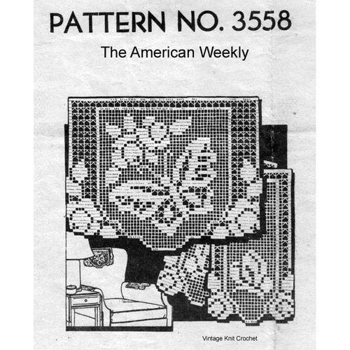Reproduction 6442 Vintage Filet GRAPEVINE Chair Set Pattern to Crochet