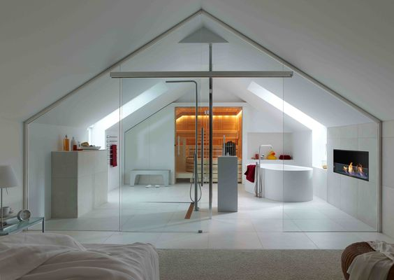 Bedroom and contemporary bath in a loft