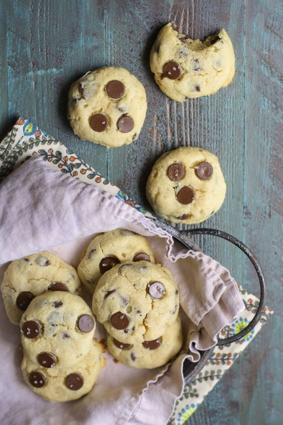 Perfectly Soft and Chewy Chocolate Chip Almond Cookies! Sprinkle with sea salt for a great sweet and salty snack!