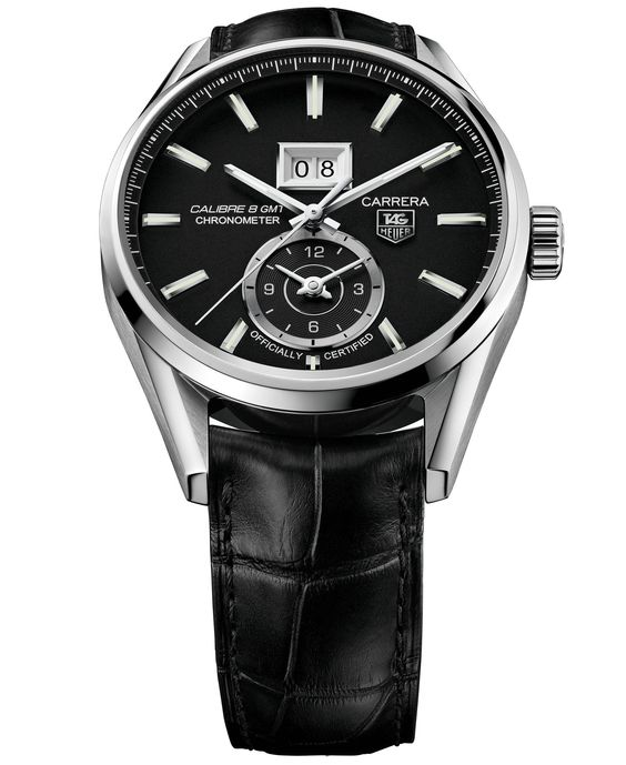 Tag Heuer Men's Swiss Automatic Carrera Calibre 8 Grande Date Gmt Cosc Black Alligator Leather Strap Watch 41mm WAR5010.FC6266