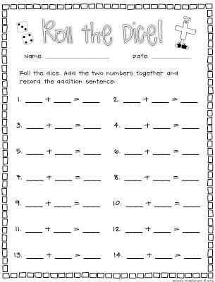 math worksheet : once upon a first grade adventure dice dominoes and cards  : Dice Addition Worksheet