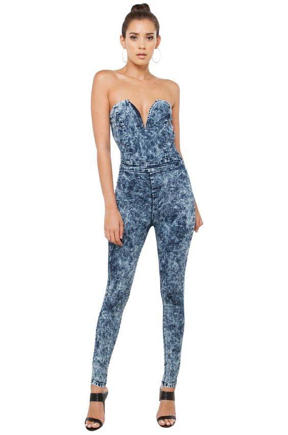 Sexy Dark Acid Wash Strapless Denim Jumpsuit | AKIRA | Jumpsuits ...