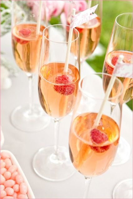 Champagne cocktail + raspberries