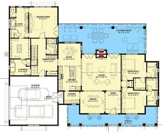 Plan 64469sc Rugged Modern Farmhouse With Bonus Room New House Plans House Plans Floor Plans