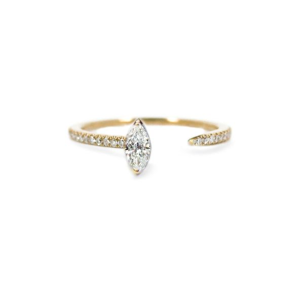 Marquise Crescendo Pavé Ring  1,800.00 Embellished with a pavé diamond surround, our signature ring is crafted of polished 14k yellow gold set with a 6x3mm marquise cut diamond.  0.89tcw  Made in New York  Please note: All our pieces are custom made to order and requires 2-4 weeks for production. Pieces we have in stock will ship in 1-4 business days.
