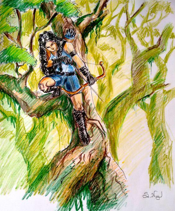 A girl hunter :) Color pencil art work