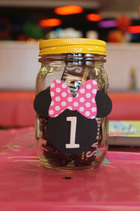Candy Filled Centerpieces : Mickey mouse centerpiece mason jar filled with candy