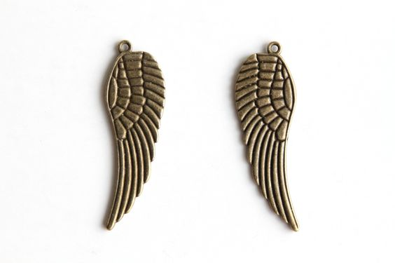 Charm - Feather Wing, Antique Brass
