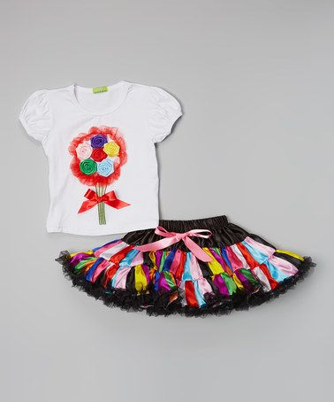 Look at this #zulilyfind! White & Pink Bouquet Top & Pettiskirt - Toddler & Girls by Sweet Bluette #zulilyfinds