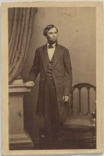 Mathew Brady's cameraman, Thomas Le Mere, thought that a standing pose of the president would be popular. Lincoln wondered if it could be accomplished in one shot, and this is the successful result. It was taken on April 17, 1863,