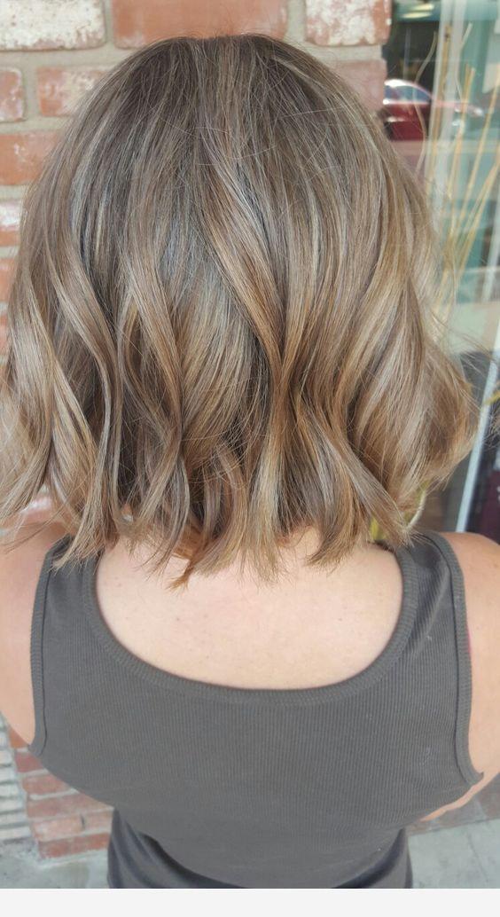 Light Brown Medium Hair Balyage Short Hair Ombre Hair Blonde Short Hair Model